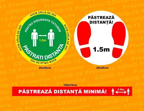 Autocolante podea Masuri si Preventie Covid-19, set spatii comerciale