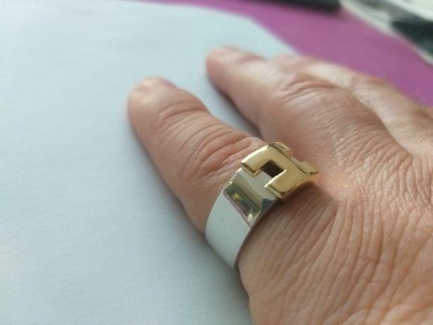 RAR ! UNICAT!!! Inel Vintage Hermes Autentic Argint si Aur 18K