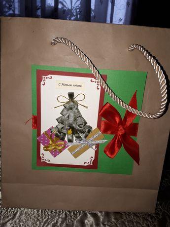 Крафтовый пакет новогодний