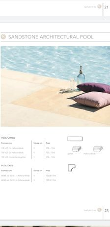 Dale piatra piscina 100x35x5 cm + colt piatra piscina