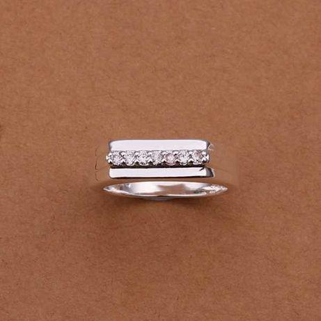 ARG239,inel argint 925,nou/marcat, unisex,zircon alb