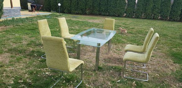 Комплект маса за хранене с шест стола