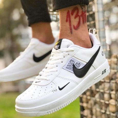 Adidasi Nike Air Force One 1 utility TM alb negru marimi 36-44