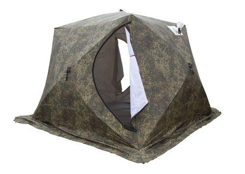 Палатка СТЭК КУБ 3 камуфляж (трехслойная, с выводом под трубу)