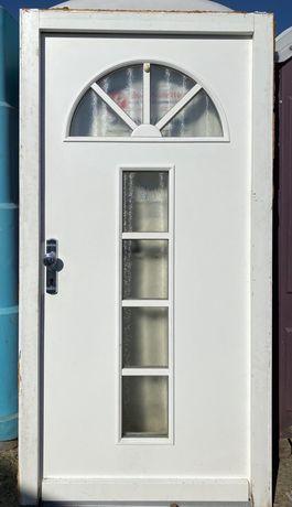 Usa casa firma intrare lemn geam vitraliu termopan H 210 x L 108