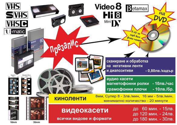 Презапис на всякакви киноленти в HD, видеокасети, снимки на DVD или фл
