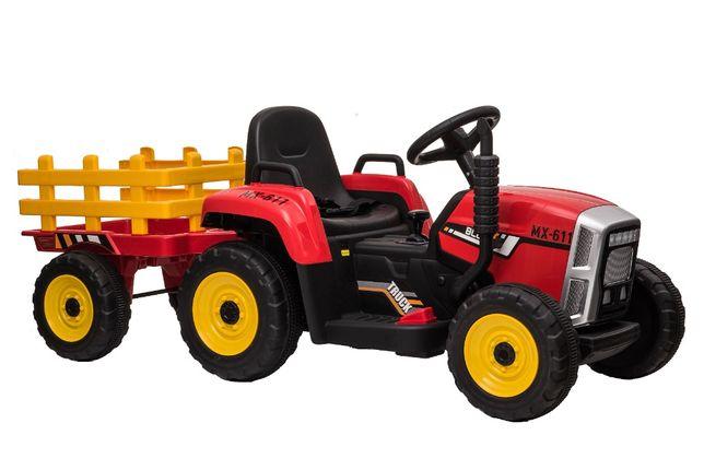 Tractor electric pentru copii BJ611 70W 12V cu Remorca inclusa #Rosu