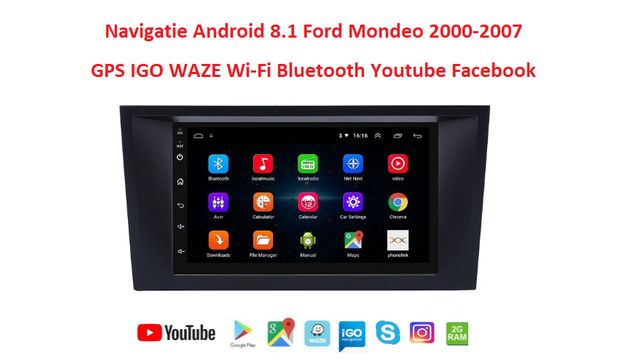 Navigatie Android 9.1 Ford Mondeo fabricatie 2000-2007 GPS Wi-Fi