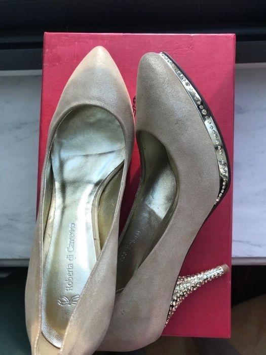 Pantofi cu toc, aurii , Roberta di Camerino + CADOU PARFUM, NEGOCIABIL