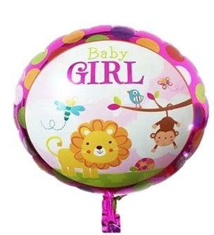 Balon folie rotund roz cu animalute 45cm -10lei