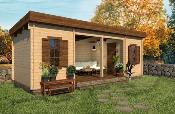 Сглобяеми дървени преместваеми къщи масив 33м2 - дървени бунгала масив