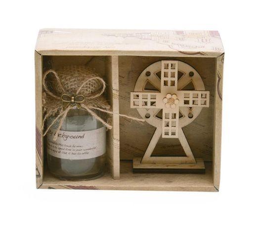Подаръчен комплект от светещо бурканче и дървена вятърна мелница