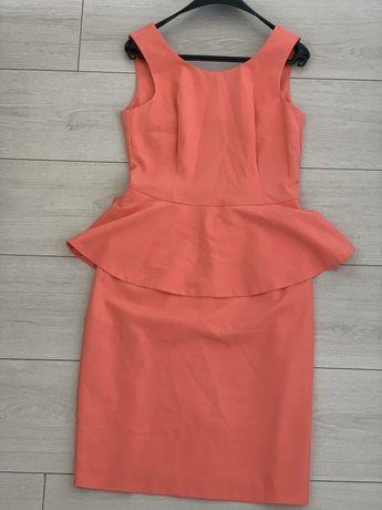 Елегантна рокля цвят корал с пеплум