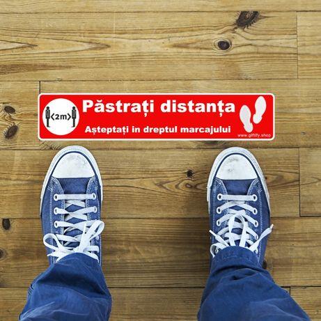 """Sticker podea COVID-19 """"Pastrati distanta"""" 30x6cm"""