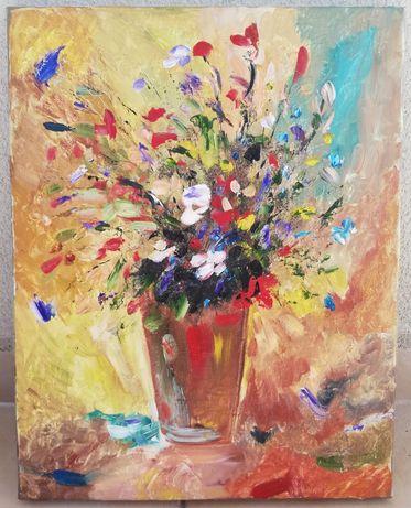 Tablou Natura statica Vas cu flori de camp pictura ulei pe panza 35x45