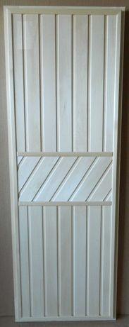 Двери деревянные для бани из массива сосны, наборные из вагонки липа