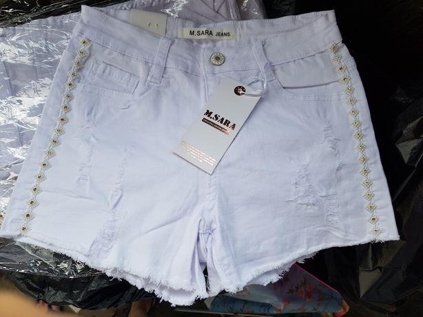 Pantaloni scurti albi blug noi strasuri perlate fermoar marimi 25la 30