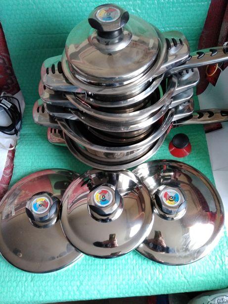 Set complet de vase din inox pentru bucatarie