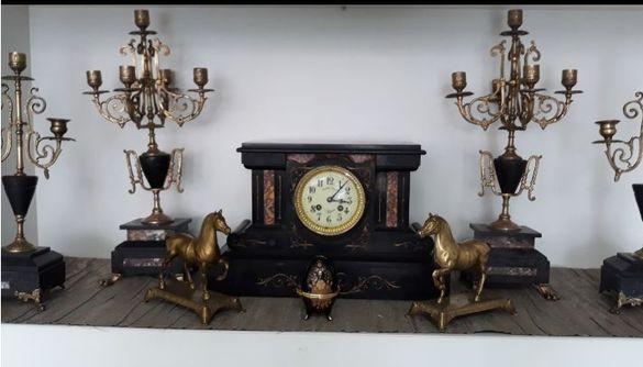 УНИКАЛЕН Каминен Часовник Japy Freres France 1872 комплект свещници
