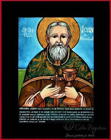 Sfântul Sfântul Ioan de Kronstadt, icoană tradițională naivă pictată p