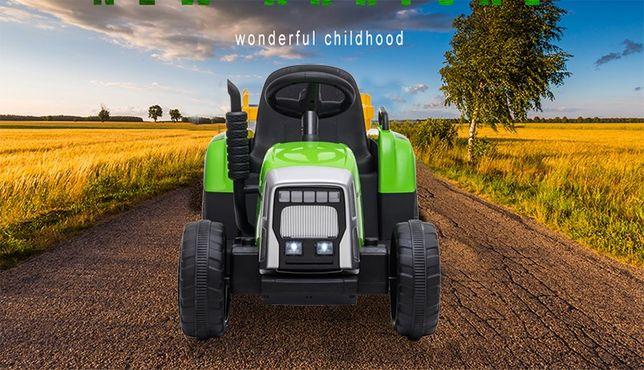 Tractor electric pentru copii BJ611 70W 12V cu Remorca inclusa #Verde