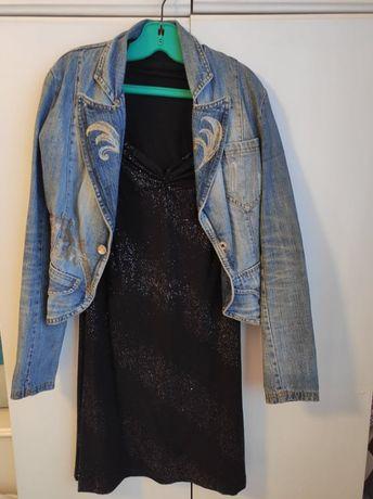 Къса черна рокля и дънково яке