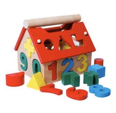 Casuta Multifunctionala Din Lemn Cu Sortator De Forme-Montessori