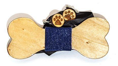 set papion si butoni din lemn pentru iubitorii de animale