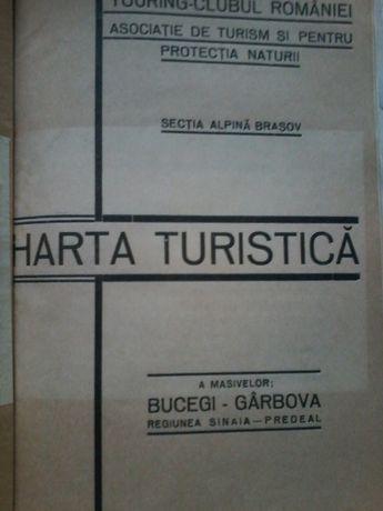 Harta turistica a masivilor Bucegi-Garbova reg. Sinaia-Predeal (1934)
