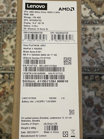 Ноутбук Lenovo idea pad 3