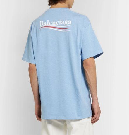 BALENCIAGA Light Blue Political Campaign Logo Oversized Тениска S (M)
