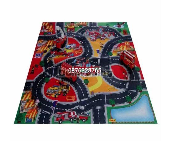 Комплект детско килимче килим за игра и пожари коли детски играчки