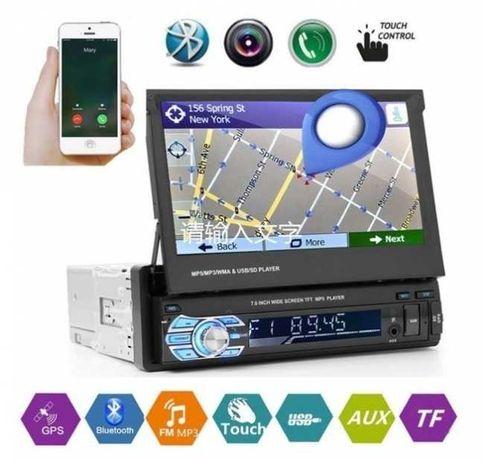 Единичен дин мултимедия MP5, GPS, SD slot, Bluetooth, 7 инча