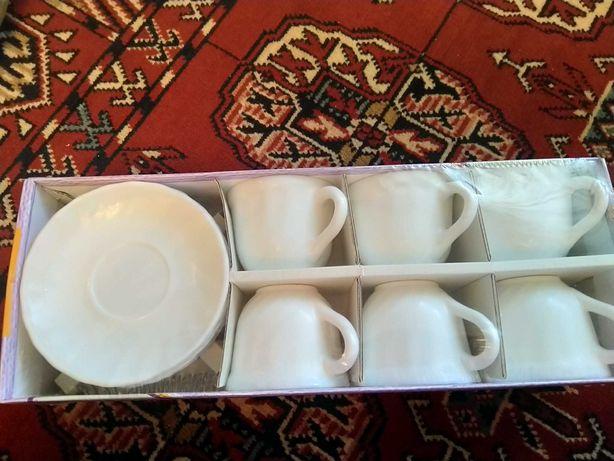 Чайный сервиз, белый без рисунка
