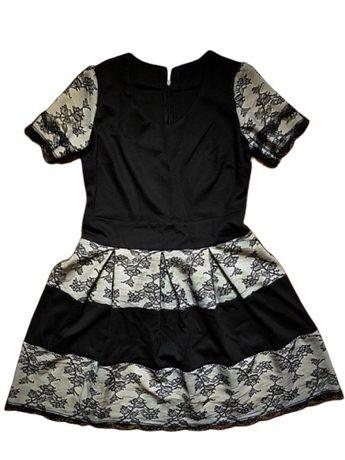 Rochie USA volanase dantela neagra eleganta casual vara stil Zara