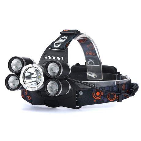 Супер мощен LED челник с акумулаторни батерии и 5 LED диода