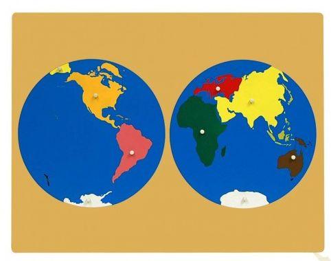 Монтесори пъзел на света - Kонтиненти World Map Montessori