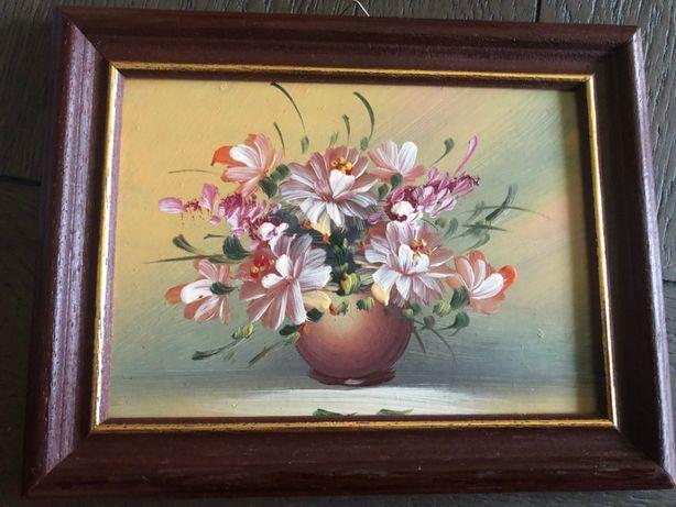 Tablou,pictura miniaturala germanain ulei ,vaza cu flori