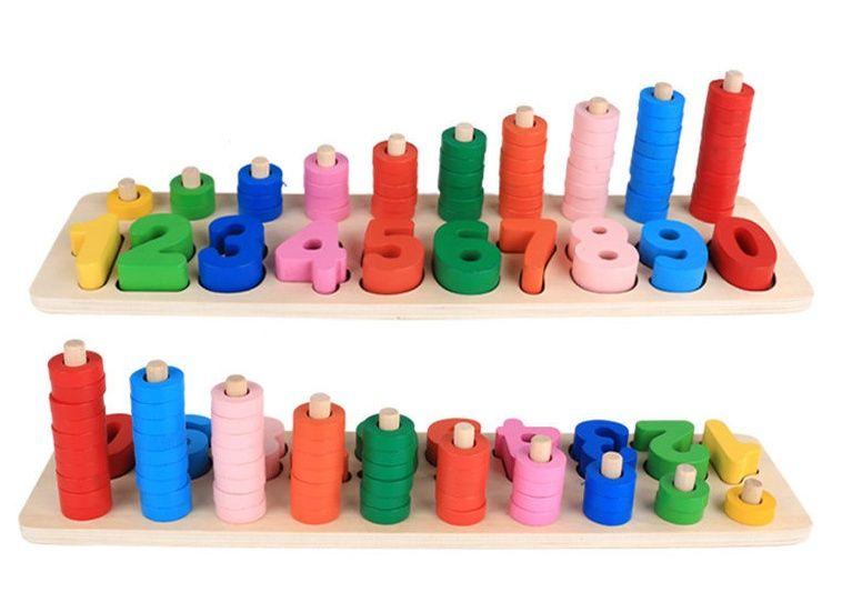 Дървена цветна математика с нанизване и числа спомагателна и цветна гр. Бургас - image 1