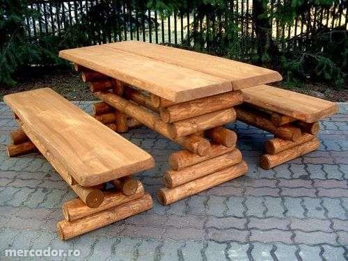 Set masa lemn masiv +2canapele +tamburele din busteni pt gradina/curte