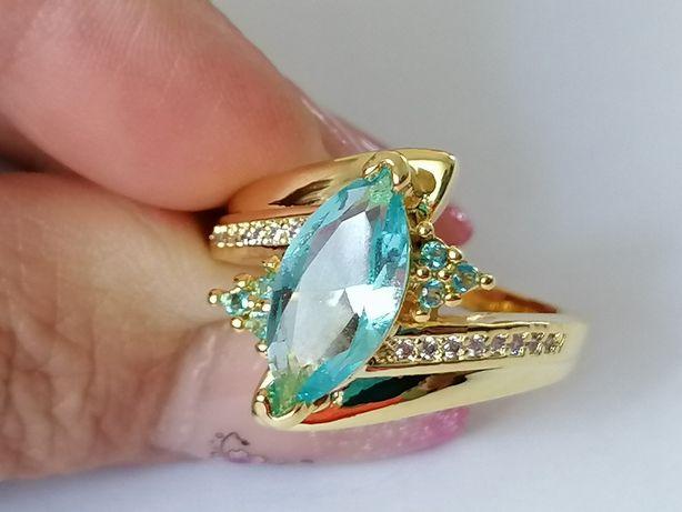 GPA72, inel placat aur 18k, model masiv, zirconiu bleu