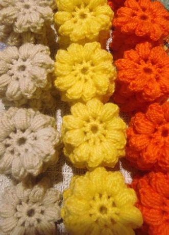 Плетени цветчета за украса на дрехи, терлички, пелени, мартеници и др.