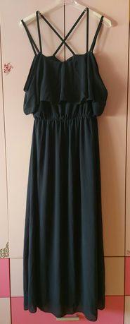 Дамска тъмно синя дълга лятна рокля