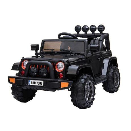 Masinuta electrica Jeep BRD-7588 90W 12V cu Scaun Tapitat #Negru