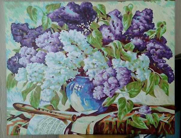 "картина ""Сирень""(нарисована по номерам)"