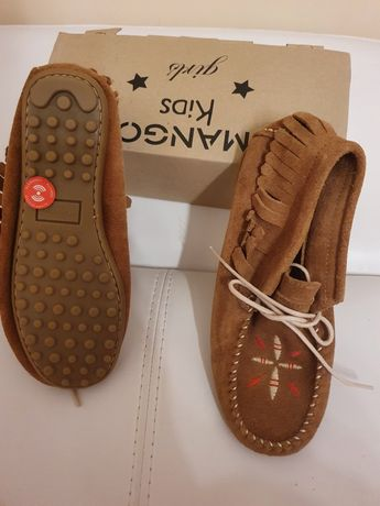 Mango, обувки естествена кожа