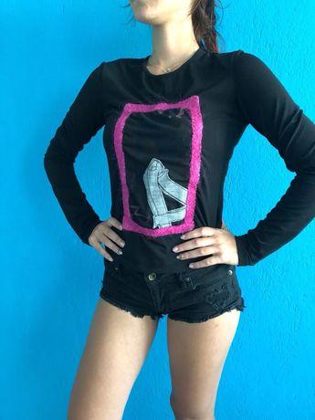 Versace дамска черна блуза с дълъг ръкав размер М