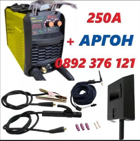 250А Инверторен Електрожен WS-250А С АРГОН + Маска за заваряне