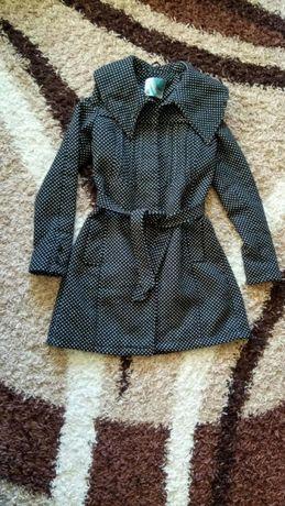 Дълго палто, черно на точки, есенно-зимно, xs
