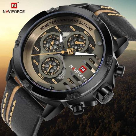 Елегантен водоустойчив часовник Curren с кожена верижка, хронометър